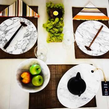 Assiette de service ronde en marbre blanc de Carrare fabriqué en Italie - Kamil