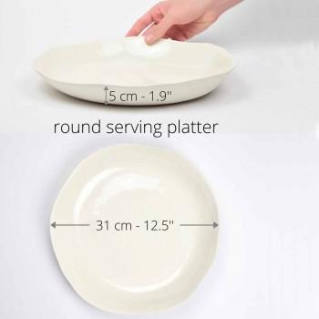 Assiette de service ronde en porcelaine blanche de luxe italienne - Arcimaesta