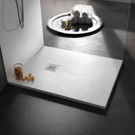 Receveur de douche 120x90 en résine effet pierre avec grille en acier - Domio