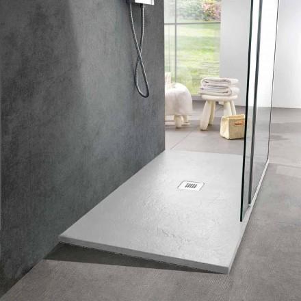 Receveur de douche en résine 140x80 au fini moderne effet ardoise blanc - Sommo