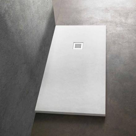 Receveur de douche 170x80 en résine effet pierre avec grille en acier - Domio