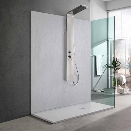 Receveur De Douche En Résine Blanche Effet Ardoise 170x70 Design Moderne - Sommo