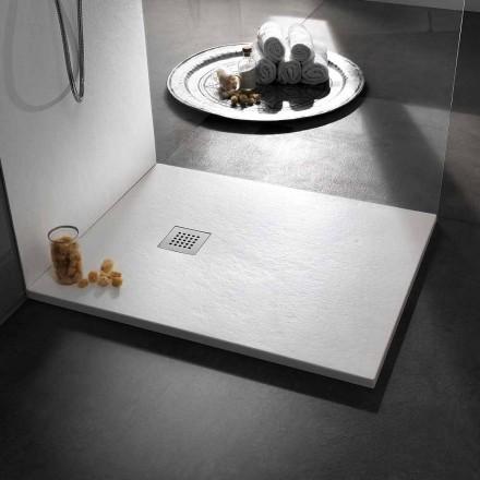 Receveur de douche moderne 120x80 en pierre et acier effet résine - Domio