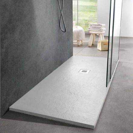 Receveur de douche moderne 170x80 finition effet ardoise en résine blanche - Sommo