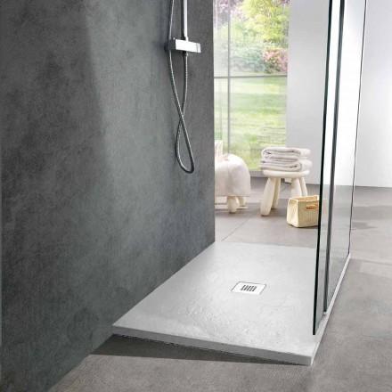 Receveur de douche moderne 90x70 en résine blanche effet ardoise - Sommo