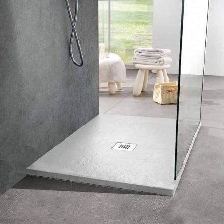Receveur de douche carré moderne 90x90 effet ardoise en résine blanche - Sommo