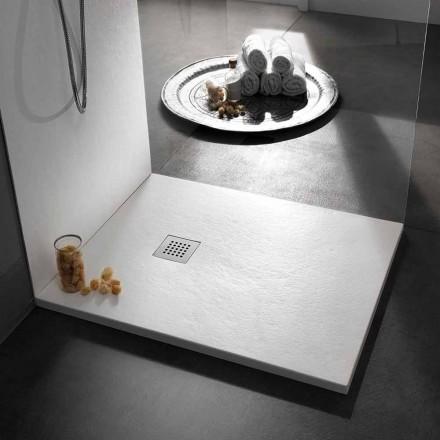 Receveur de douche carré moderne 90x90 en résine effet pierre - Domio