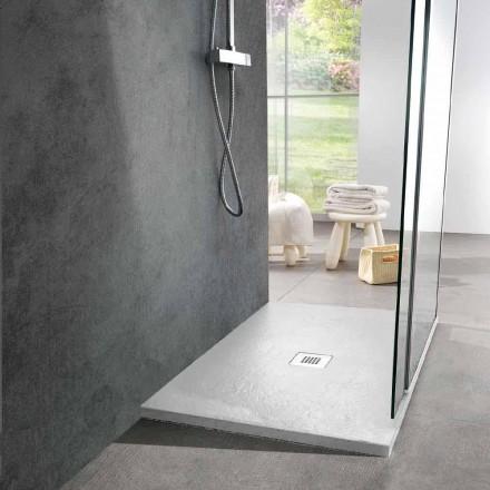 Receveur de douche rectangulaire 100x80 en résine blanche effet ardoise - Sommo