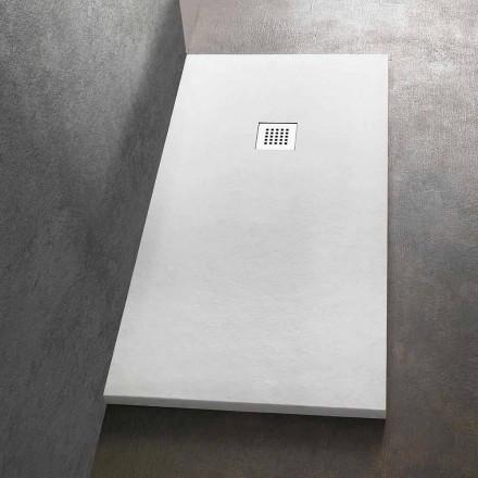 Receveur de douche rectangulaire 140x80 en résine avec grille en acier - Domio