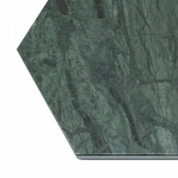 Assiette de Service Hexagonale en Marbre Noir ou Vert avec Liège 4 Pièces - Ludivine