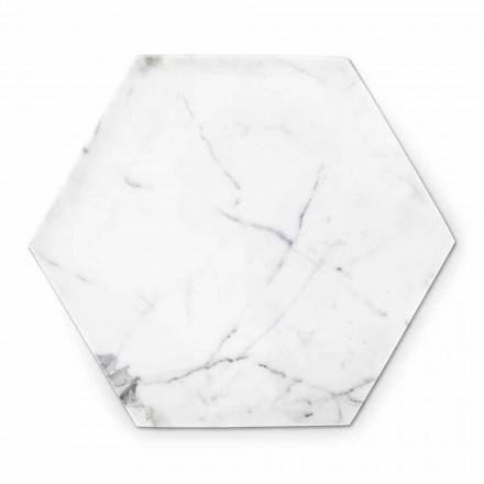 Assiette Hexagonale Design en Marbre de Carrare Blanc Fabriqué en Italie - Sintia
