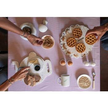 Assiette à beurre avec couteau en marbre blanc de Carrare Made in Italy - Donni