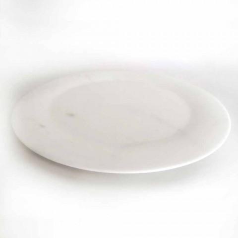 Assiette Plate en Marbre Statuaire Blanc Brillant de Design Made in Italy - Brandy