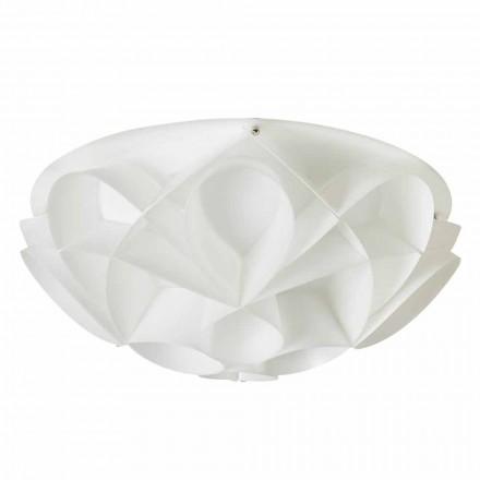 Plafonnier 2 lumière couleur blanc perle moderne, diamètre 43cm Lena