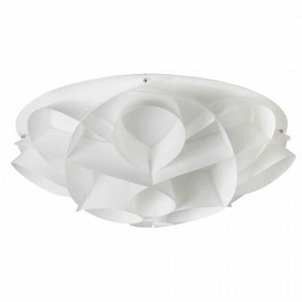 Plafonnier 4 lumière blanc perle design moderne, diamètre 70cm, Lena