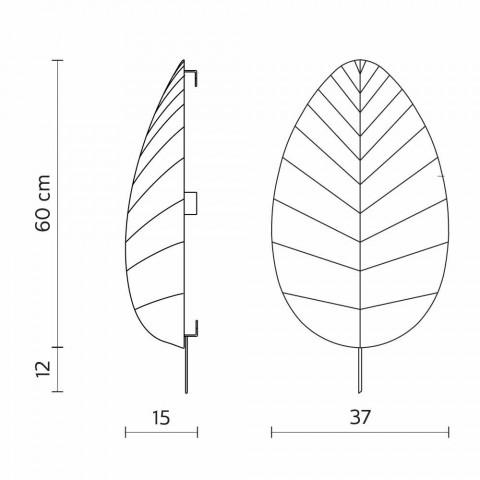 Applique en Métal et Design Lycra Blanc en 3 Dimensions - Feuillage