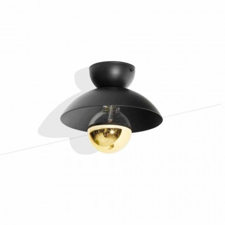 Plafonnier design en métal avec détail finition or Made in Italy - Valta
