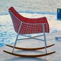 Chaise berçante moderne de jardin en acier et bois Varaschin Summer Set