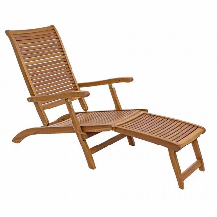 Chaise longue inclinable d'extérieur en bois naturel - Roxen