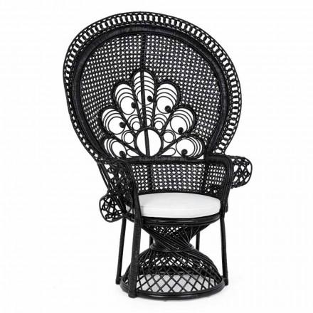 Fauteuil de jardin design de luxe pour l'extérieur en rotin noir - Serafino