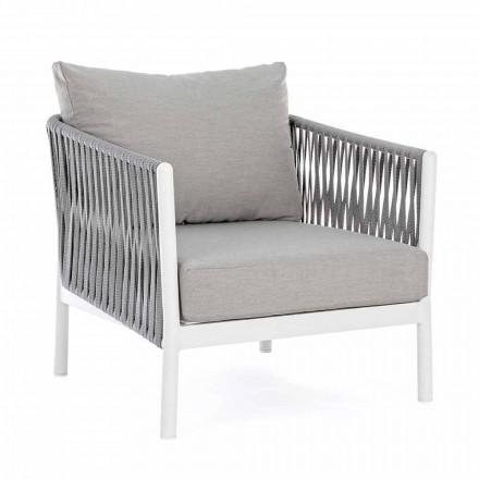 Fauteuil de jardin en aluminium, fibre synthétique et tissu Homemotion - Rubio