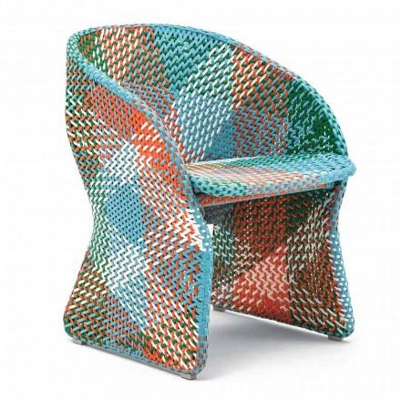 Fauteuil de jardin en fibre synthétique tressée colorée - Maat by Varaschin