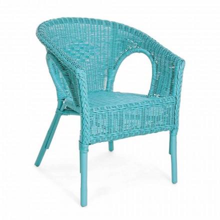 Fauteuil de jardin empilable design en rotin blanc, bleu ou vert - Favolizia
