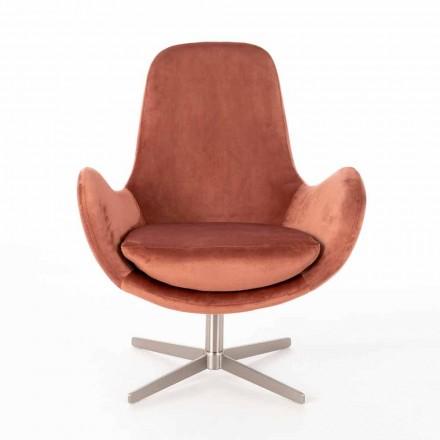 Fauteuil lounge pivotant rembourré design moderne en velours - Gajarda