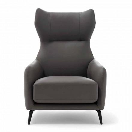 Chaise longue en cuir avec pieds en métal laqué Made in Italy - Noyer