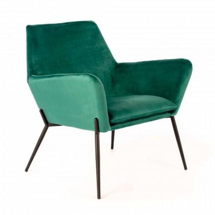 Chaise longue moderne en velours vert pétrole et métal noir - tonique