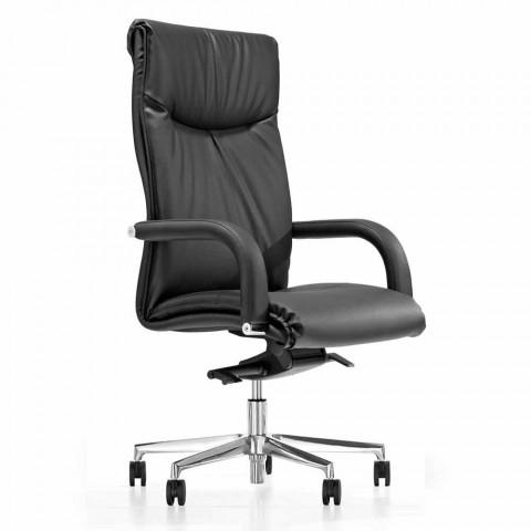 Chaise de bureau présidentielle avec roues en similicuir noir - Tomomi