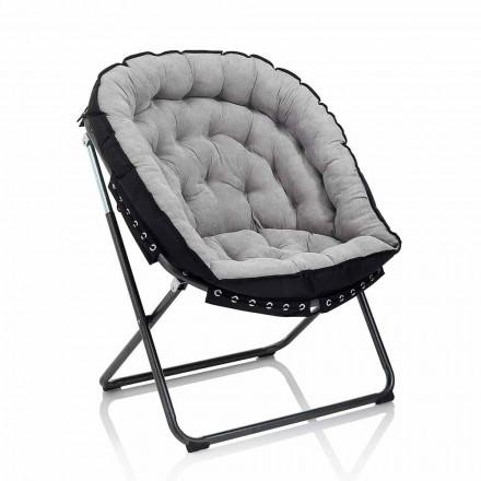 Fauteuil design en velours gris clair avec structure en métal noir - Tronia
