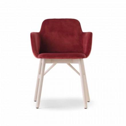 Fauteuil de haute qualité avec assise en velours ou en tissu Made in Italy - Molde