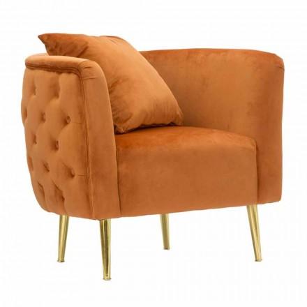 Fauteuil lounge de design moderne en velours, bois et fer - Ruthie
