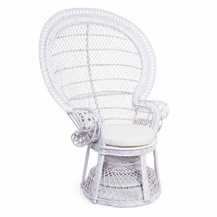 Fauteuil de jardin design de luxe en rotin blanc pour l'extérieur - Serafina