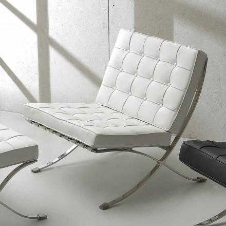 Fauteuil de design Morella, en cuir écologique et structure chromée