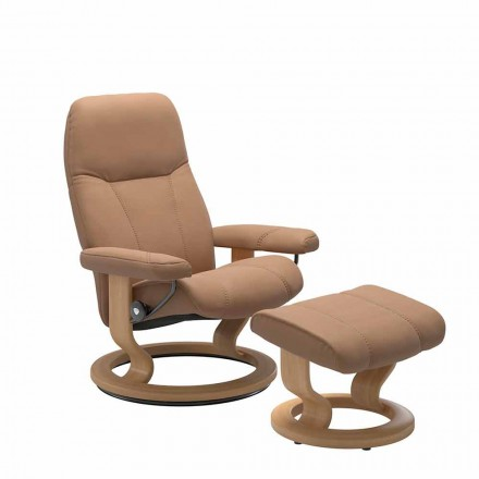 Fauteuil relaxant inclinable en cuir avec pouf - Stressless Consul