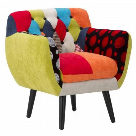 Fauteuil design moderne patchwork coloré en tissu et bois - Koria