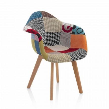 Fauteuil design patchwork en tissu avec pieds en bois, 2 pièces - Selena