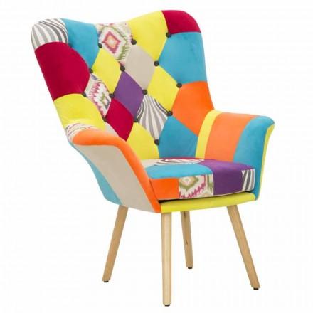 Fauteuil design moderne patchwork en tissu et bois - Karin