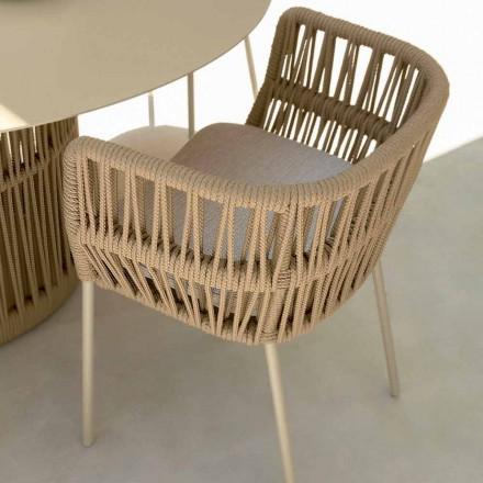 Fauteuil de jardin moderne en corde et tissu Cliff Talenti by Palomba