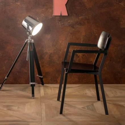 Fauteuil moderne de design moderne en métal et bois Elmas