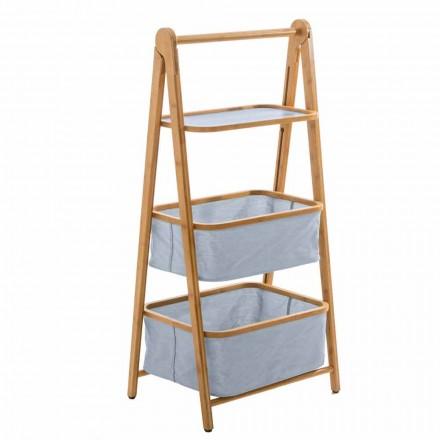 Porte-accessoires de salle de bain design en tissu et bambou Vercelli