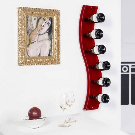 Porte-bouteilles mural rouge de design L26,5xH100xP9cm Serry