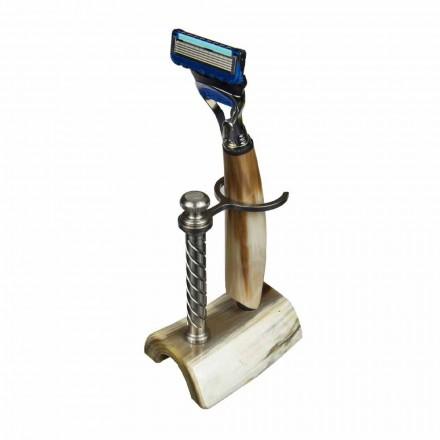 Porte-rasoir artisanal en corne ou bois avec rasoir Fabriqué en Italie - Diplo