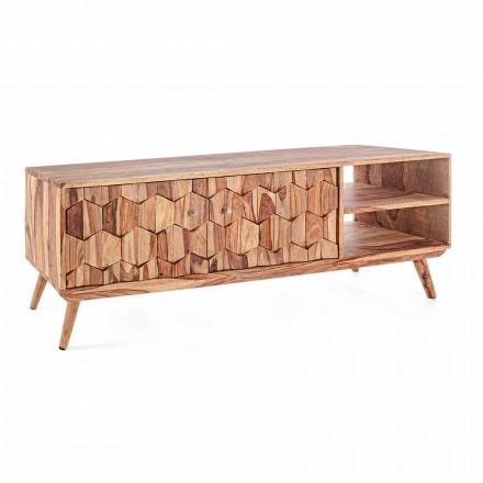Meuble TV en bois design vintage avec boutons en acier Homemotion - Ventador