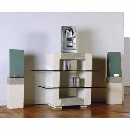 Meuble TV hi-fi en pierre de Vicenza et cristal Xeni, fait en Italie