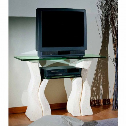 Meuble TV en cristal et pierre de Vicenza Khloe, fait à la main