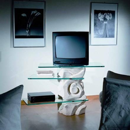 Meuble TV en pierre de Vicenza et cristal Agape, fait en Italie