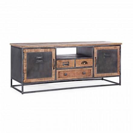 Meuble TV de style industriel en manguier et acier Homemotion - Rupia